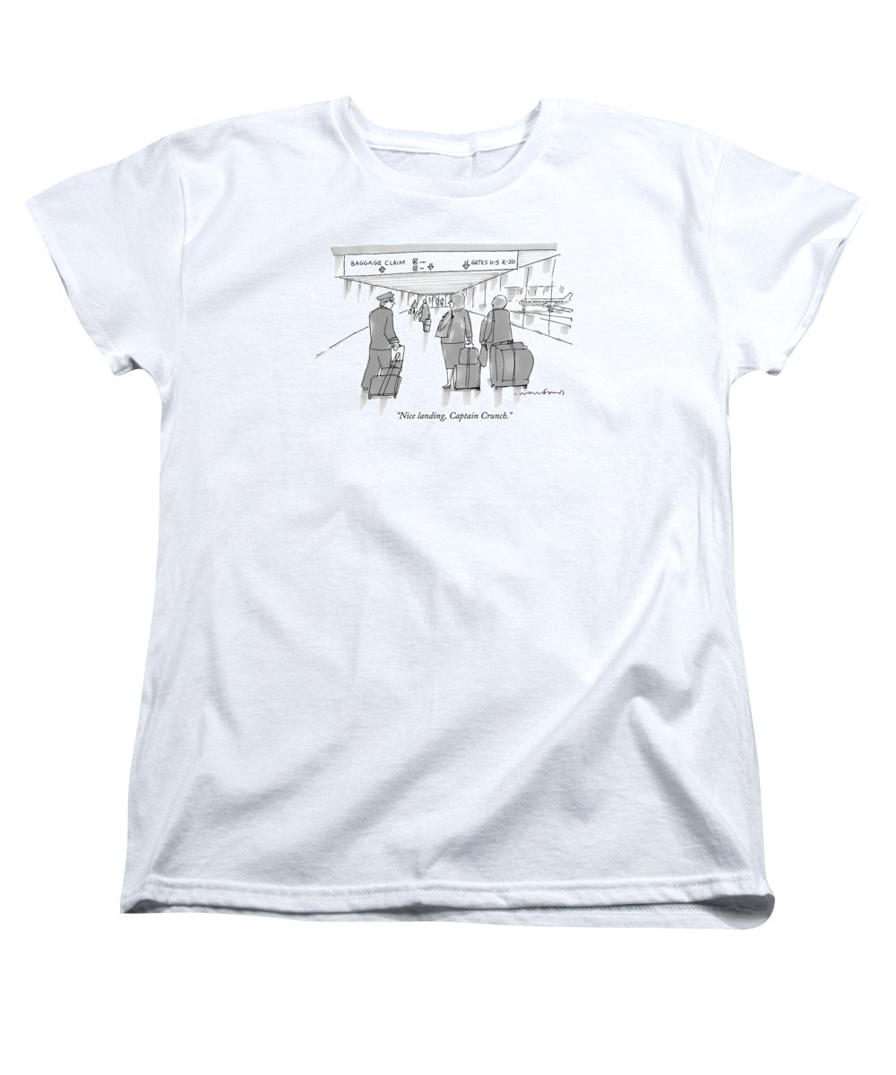 Airports Women's T-Shirt (Standard Fit) featuring the drawing Nice Landing by Michael Crawford