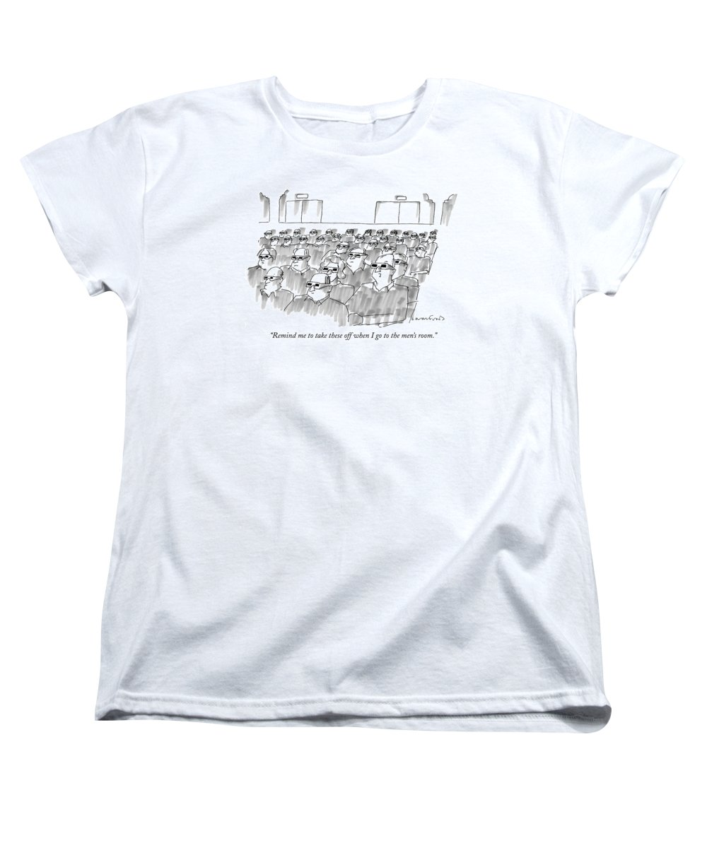 Senility Women's T-Shirt (Standard Fit) featuring the drawing Remind Me To Take These Off When I Go by Michael Crawford