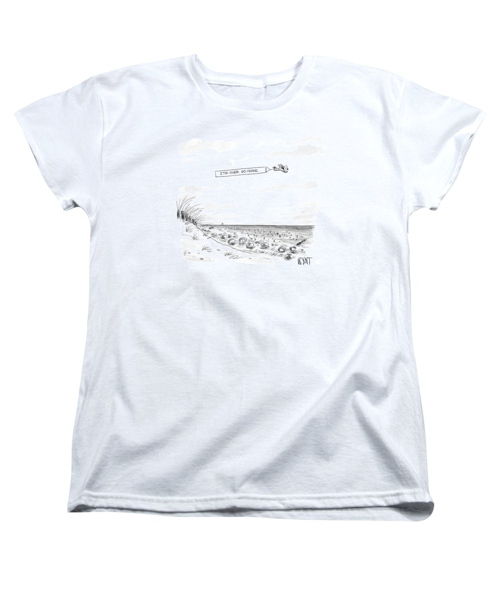 Seasons Summer Seashore  (plane Flying Over Crowded Beach With Message That Reads Women's T-Shirt (Standard Fit) featuring the drawing New Yorker September 12th, 2005 by Christopher Weyant