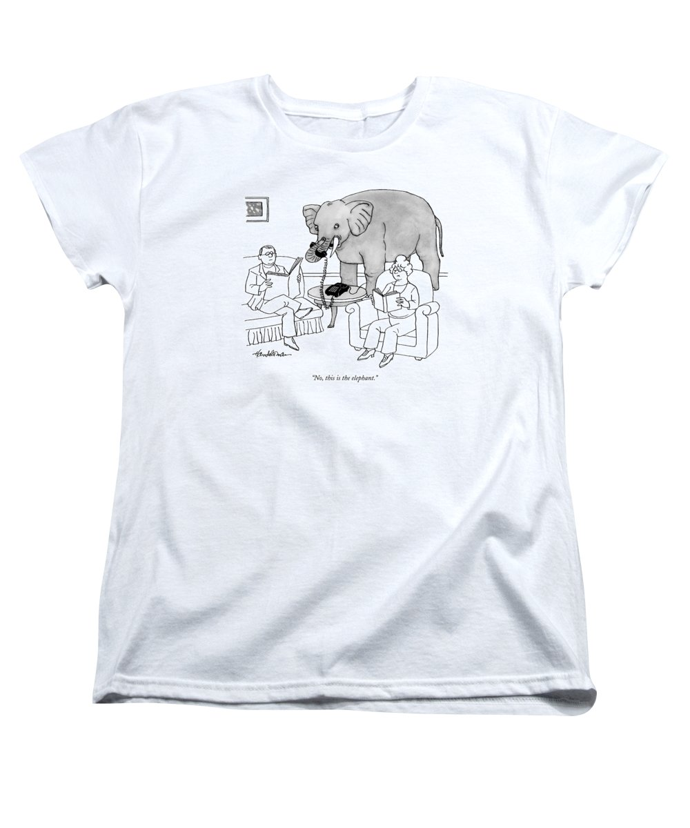 Elephants Talking Pets   (elephant Answering A Phone In A Living Room.) 121678 Jha J.b. Handelsman Women's T-Shirt (Standard Fit) featuring the drawing No, This Is The Elephant by J.B. Handelsman