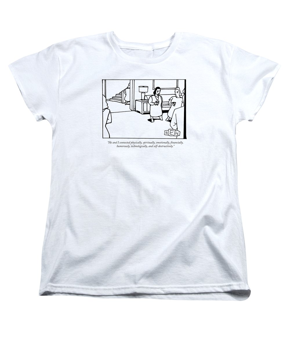 Men Women's T-Shirt (Standard Fit) featuring the drawing He And I Connected Physically by Bruce Eric Kaplan