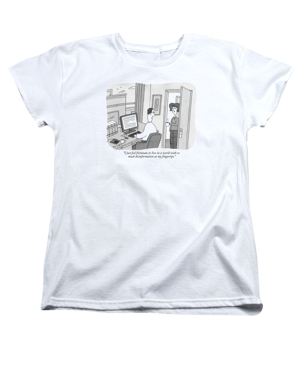Internet Women's T-Shirt (Standard Fit) featuring the drawing I Just Feel Fortunate To Live In A World by Peter C. Vey