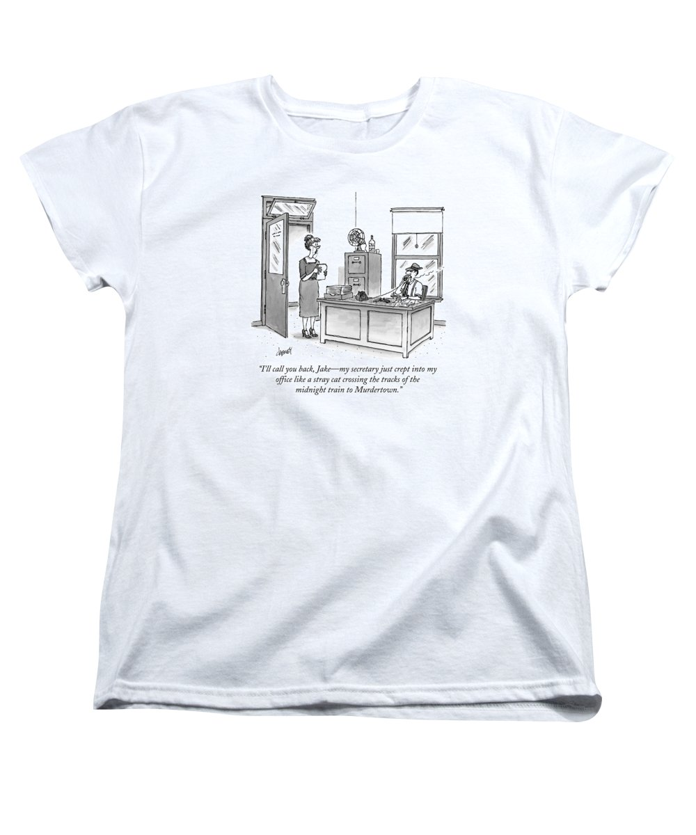 Raymond Chandler Women's T-Shirt (Standard Fit) featuring the drawing A Film Noir Detective Speaks On The Phone by Tom Cheney
