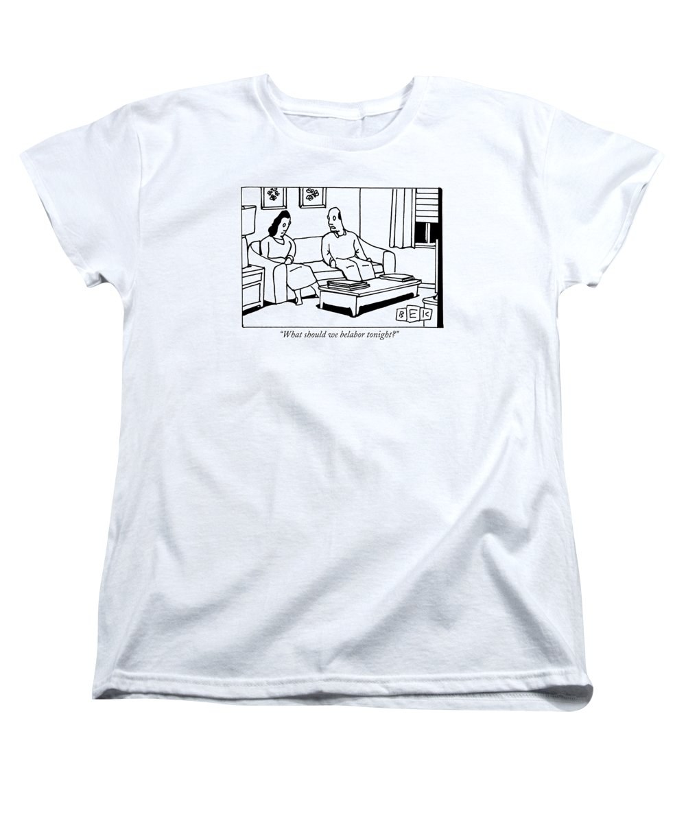 Marriage Women's T-Shirt (Standard Fit) featuring the drawing A Husband Talks To His Wife In Their Living Room by Bruce Eric Kaplan