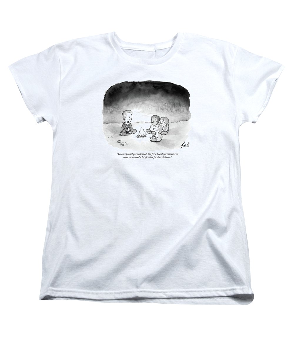 Armageddon Women's T-Shirt (Standard Fit) featuring the drawing A Man And 3 Children Sit Around A Fire by Tom Toro