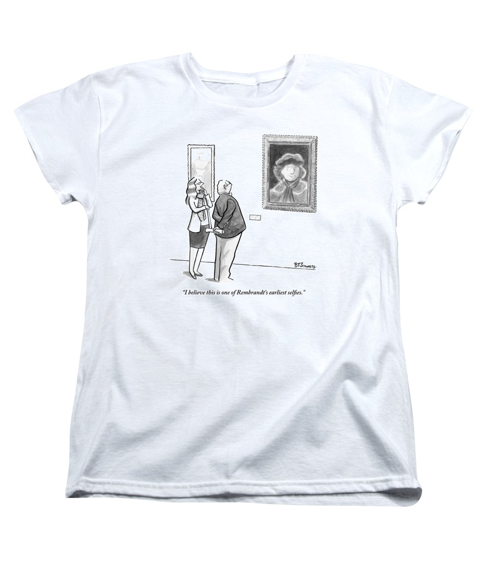 Internet Slang Women's T-Shirt (Standard Fit) featuring the drawing A Man And Woman Stand In A Museum Looking by Benjamin Schwartz