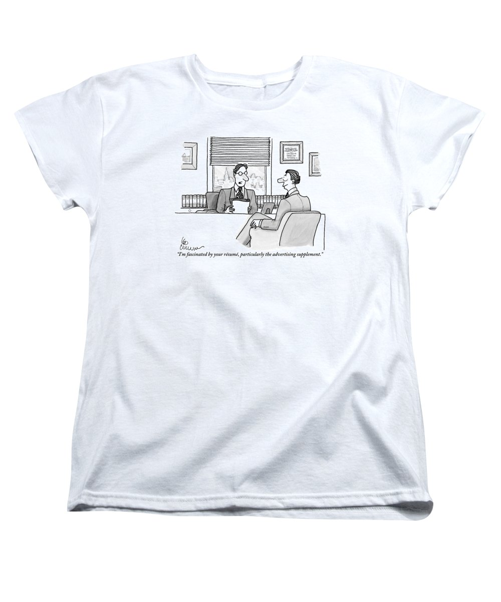 Resumes Women's T-Shirt (Standard Fit) featuring the drawing A Man Is Seen Speaking With Another Man by Leo Cullum