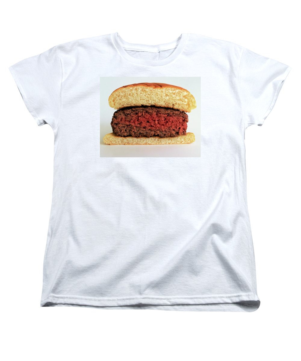 Cooking Women's T-Shirt (Standard Fit) featuring the photograph A Rare Hamburger by Romulo Yanes