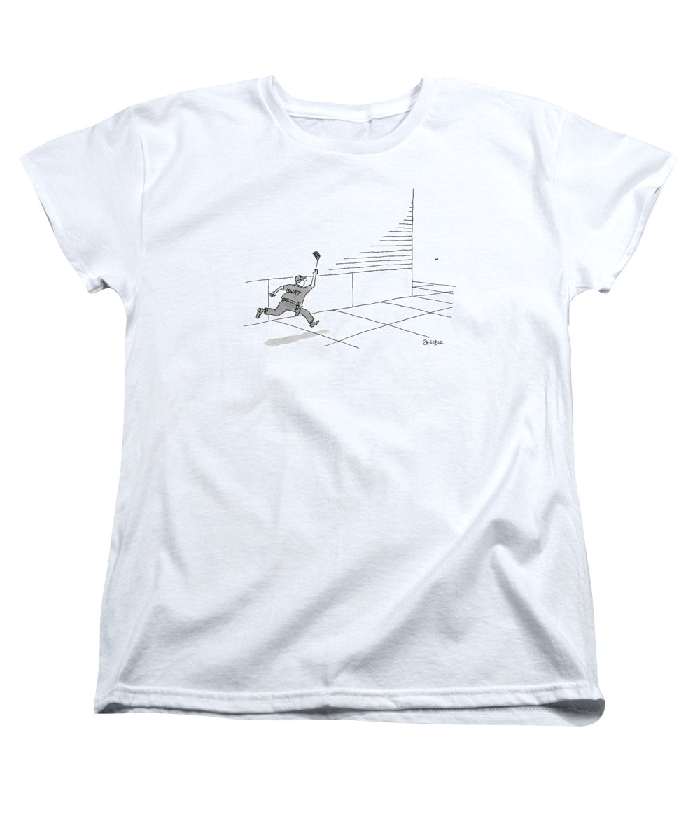 Swat Women's T-Shirt (Standard Fit) featuring the drawing A S.w.a.t Team Member Is Running Down The Block by Jack Ziegler