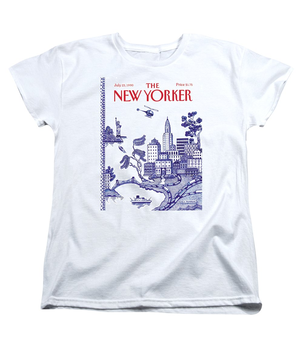 New York City Women's T-Shirt (Standard Fit) featuring the painting A View Of New York City by Pamela Paparone