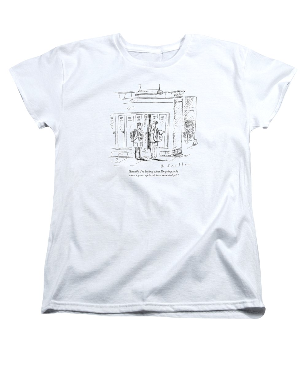 Hope Women's T-Shirt (Standard Fit) featuring the drawing Actually, I'm Hoping What I'm Going To Be When by Barbara Smaller