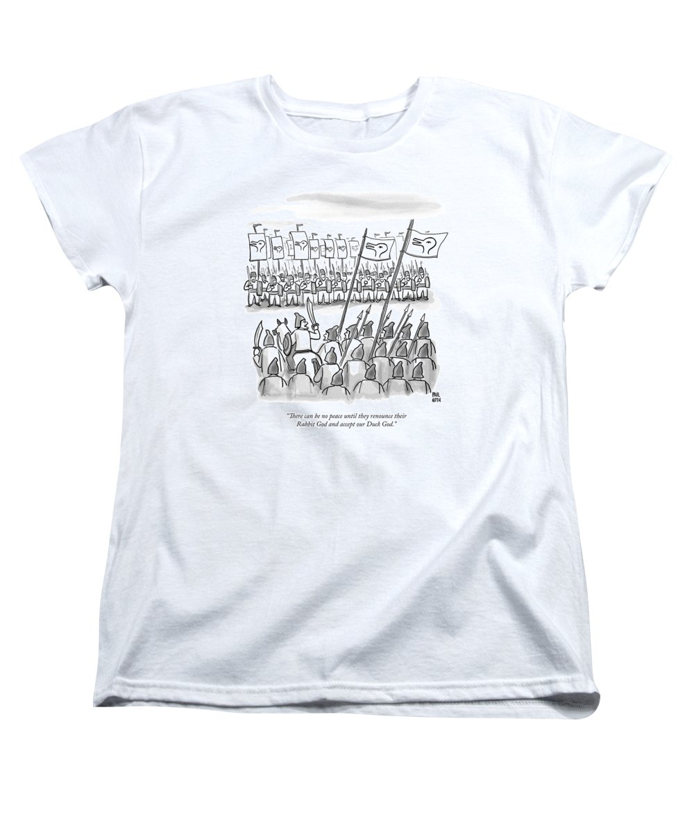 War Women's T-Shirt (Standard Fit) featuring the drawing An Army Lines Up For Battle by Paul Noth