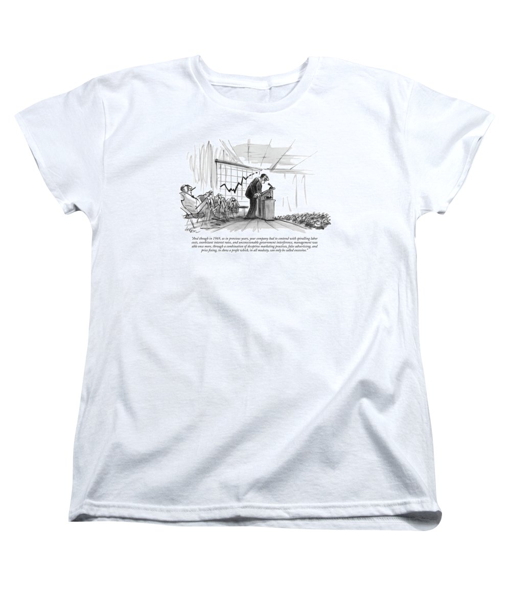 (c.e.0. Addressing Auditorium Of Stock-holders.) Business Women's T-Shirt (Standard Fit) featuring the drawing And Though In 1969 by Lee Lorenz