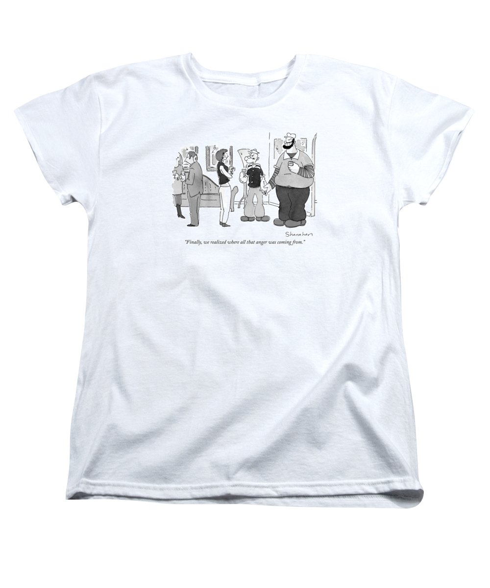 Anger Women's T-Shirt (Standard Fit) featuring the drawing Finally, We Realized Where All That Anger by Danny Shanahan