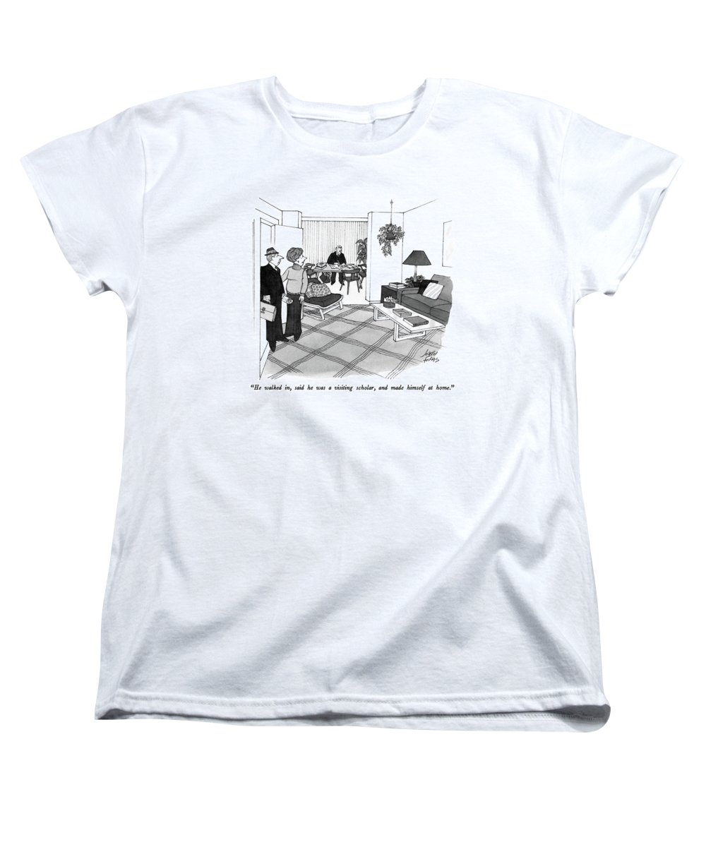 Wife To Husband Who Has Just Walked In Women's T-Shirt (Standard Fit) featuring the drawing He Walked by Joseph Farris