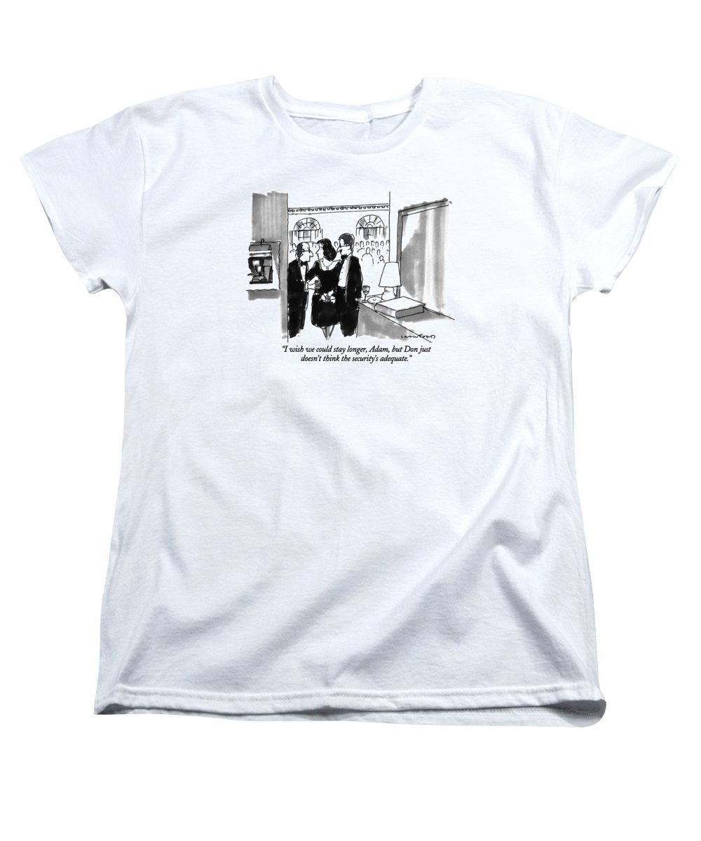 (couple Leaving Dinner Party) Couples Women's T-Shirt (Standard Fit) featuring the drawing I Wish We Could Stay Longer by Michael Crawford