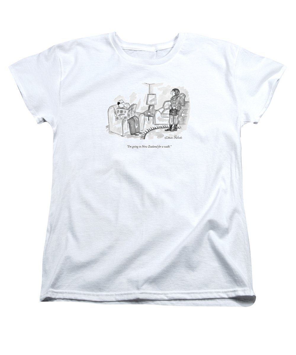 New Zealand Women's T-Shirt (Standard Fit) featuring the drawing I'm Going To New Zealand For A Walk by Victoria Roberts