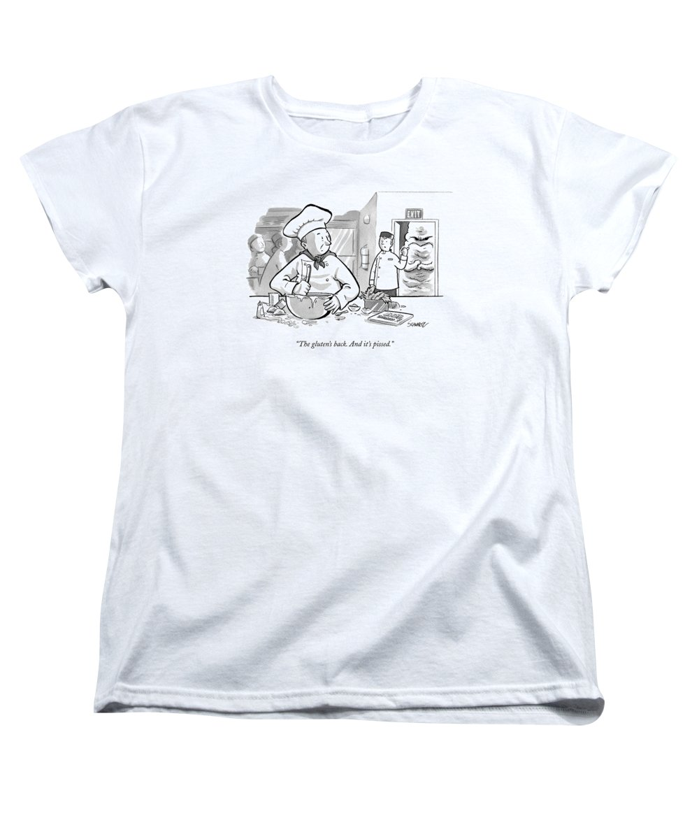 Food Women's T-Shirt (Standard Fit) featuring the drawing In A Baker's Kitchen by Benjamin Schwartz