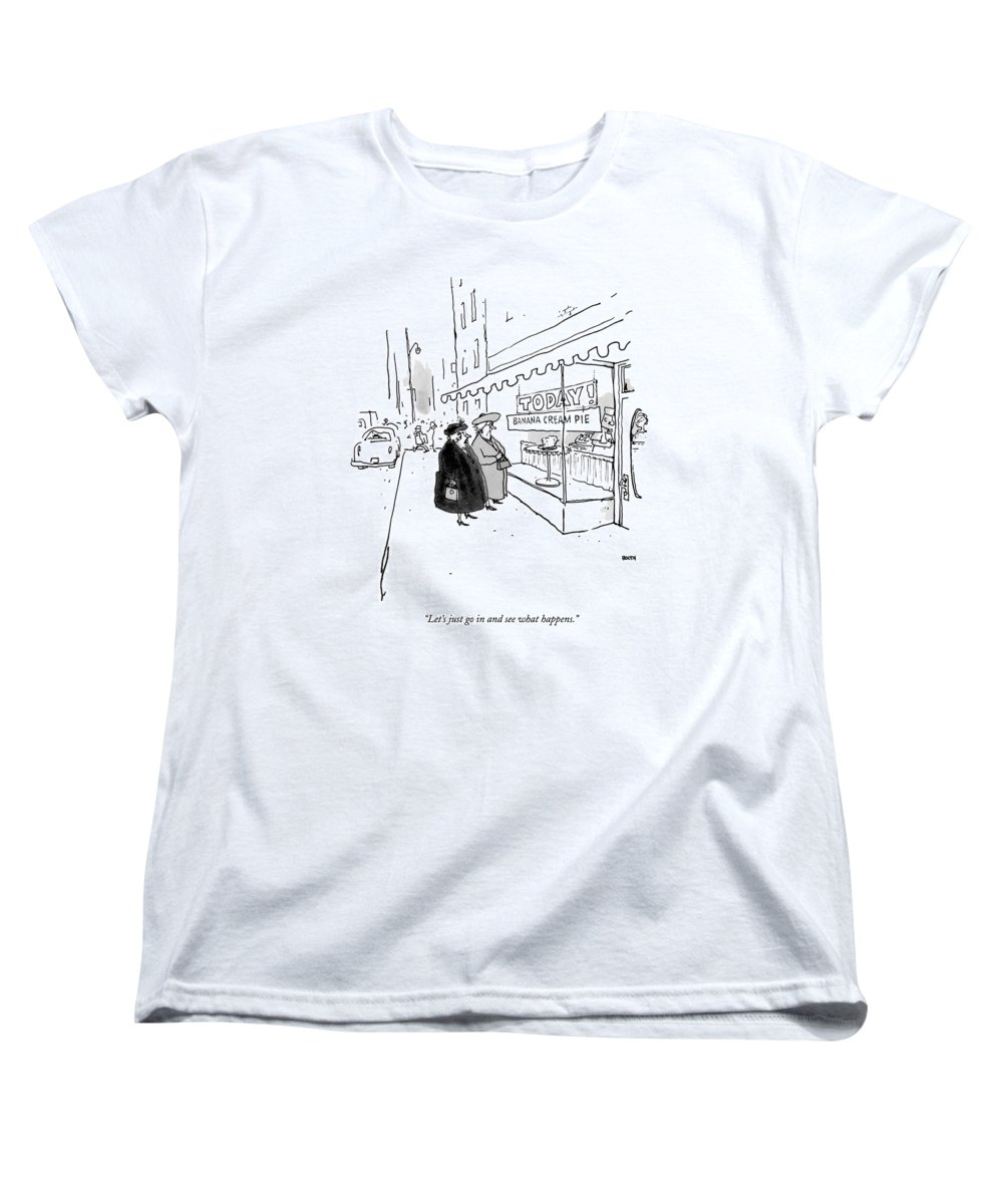 10/20 Women's T-Shirt (Standard Fit) featuring the drawing Let's Just Go In And See What Happens by George Booth