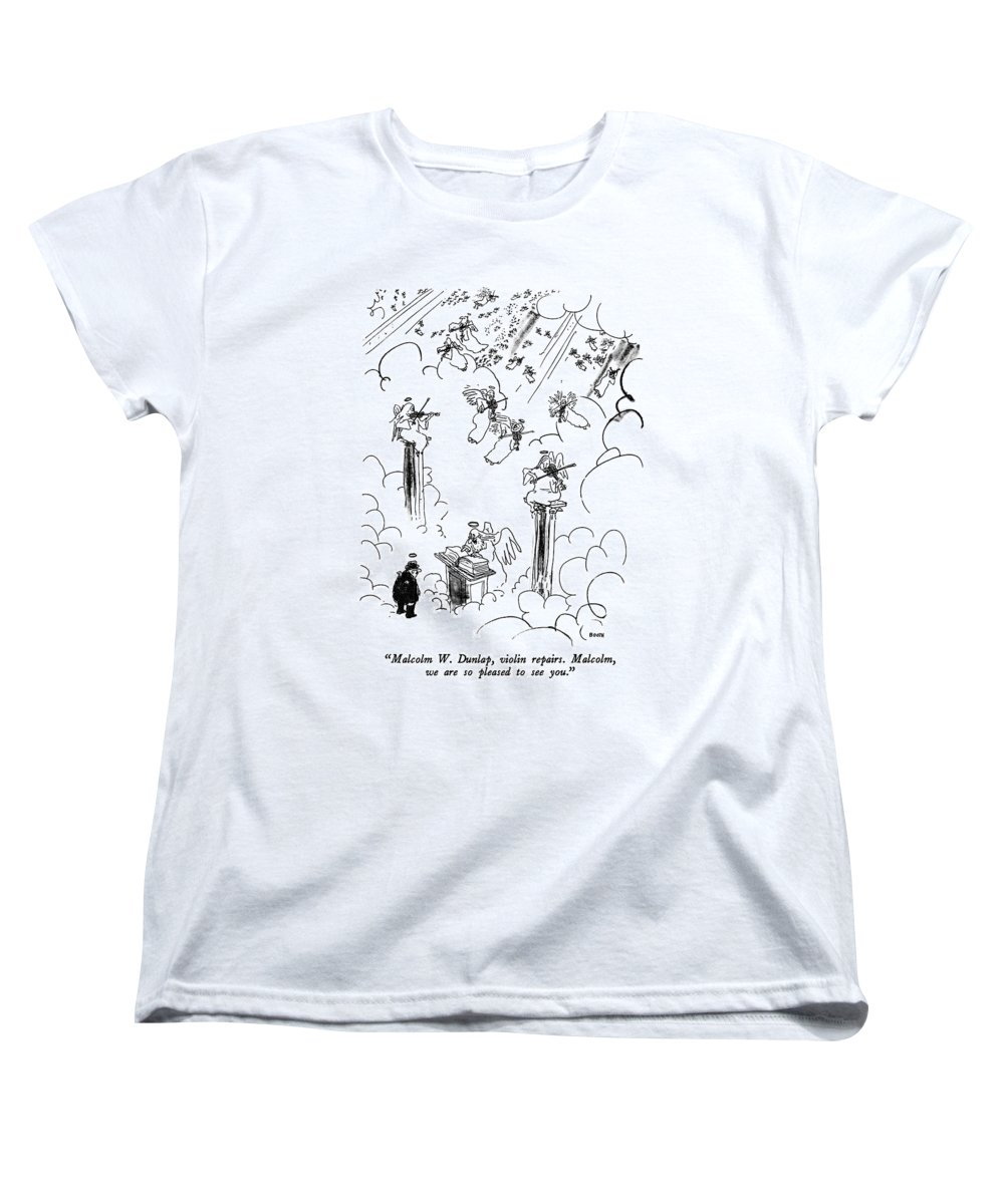 St. Peter To Man Entering Heaven Women's T-Shirt (Standard Fit) featuring the drawing Malcolm W. Dunlap by George Booth