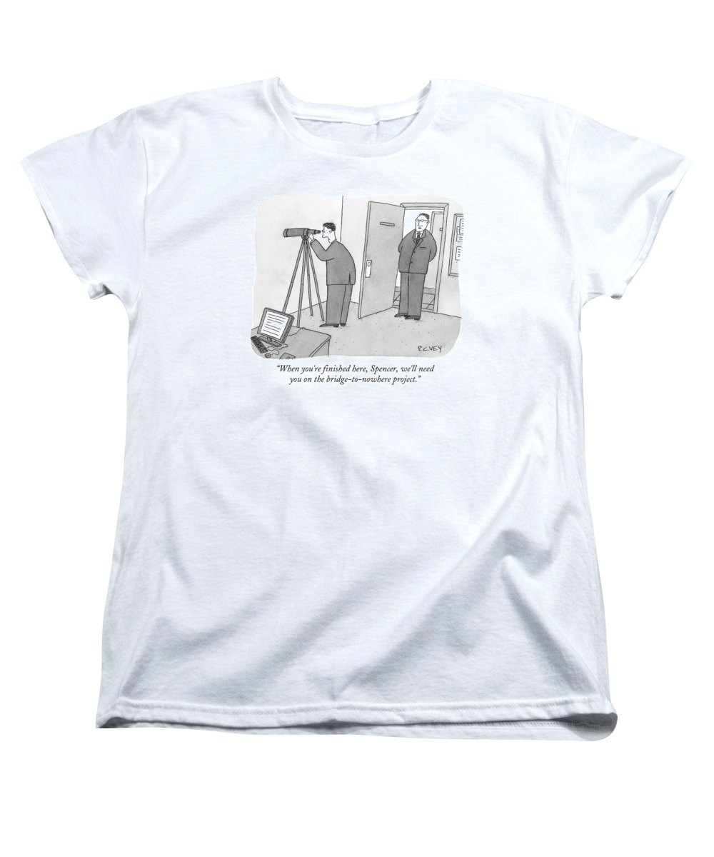 Spy Women's T-Shirt (Standard Fit) featuring the drawing Man Stares At Wall With Telescope by Peter C. Vey