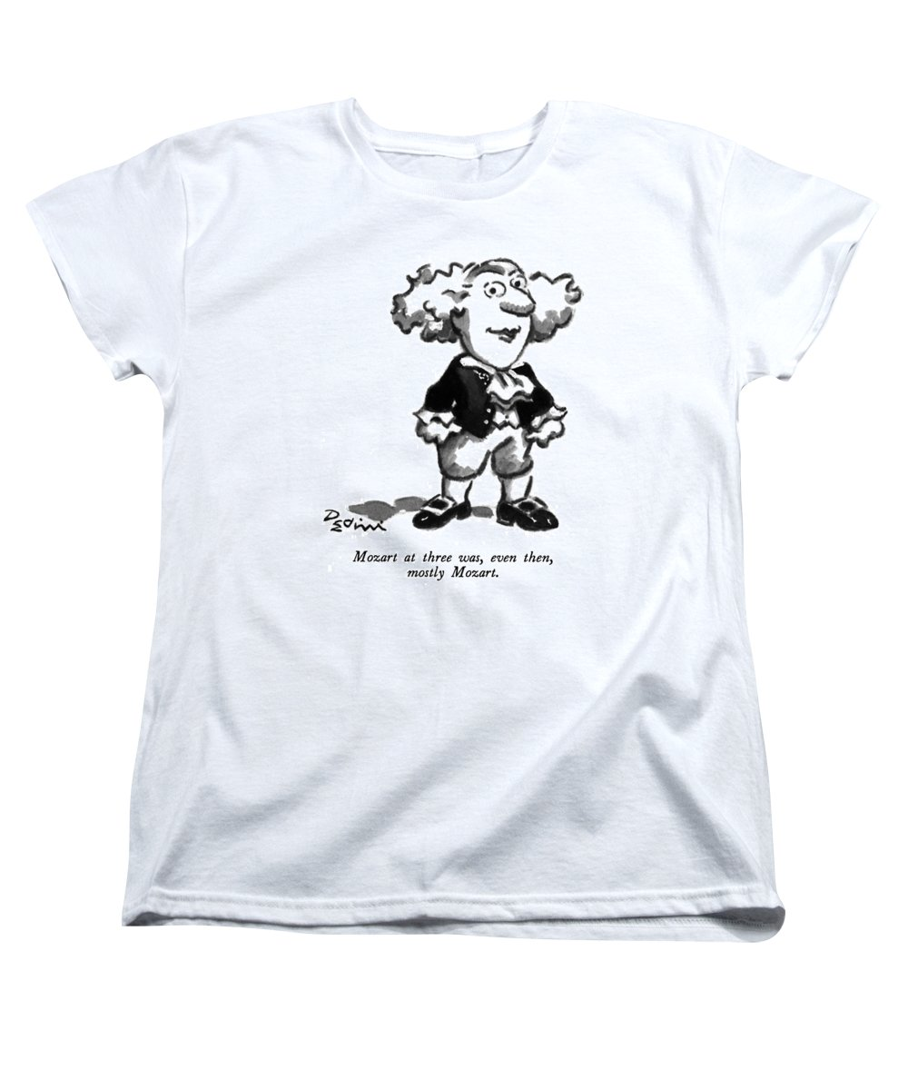 Play On Words Women's T-Shirt (Standard Fit) featuring the drawing Mozart At Three by Eldon Dedini