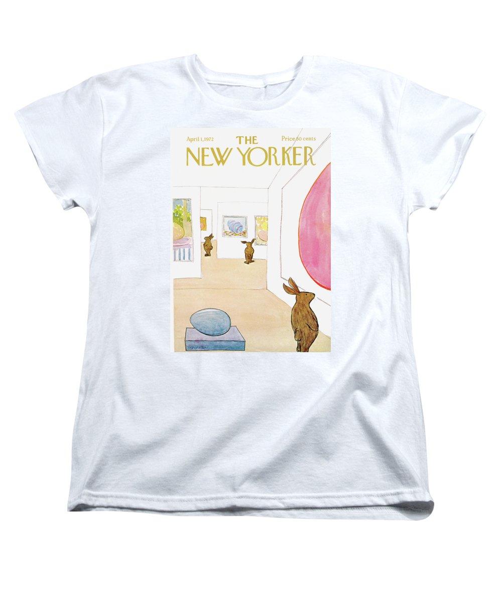 James Stevenson Women's T-Shirt (Standard Fit) featuring the painting New Yorker April 1st, 1972 by James Stevenson