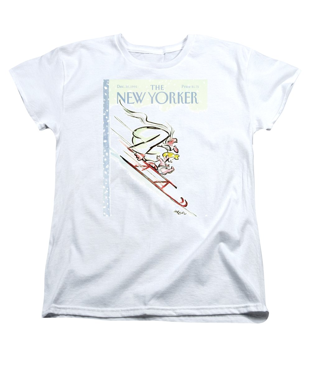 Father Time And Baby New Year Race Down A Hill On A Sled. Women's T-Shirt (Standard Fit) featuring the painting New Yorker December 30th, 1991 by Lee Lorenz