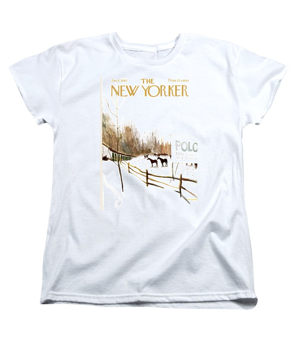 Suburb Country Outdoors Community Town Small Suburban Quaint Village Sport Sports Horse Horses Polo Snow Winter Snowing Jst James Stevenson Sumnerok James Stevenson Jst Artkey 49692 Women's T-Shirt (Standard Fit) featuring the painting New Yorker January 6th, 1962 by James Stevenson