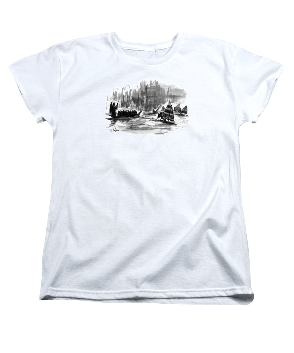 Entertainment Women's T-Shirt (Standard Fit) featuring the drawing New Yorker March 27th, 1995 by Warren Miller