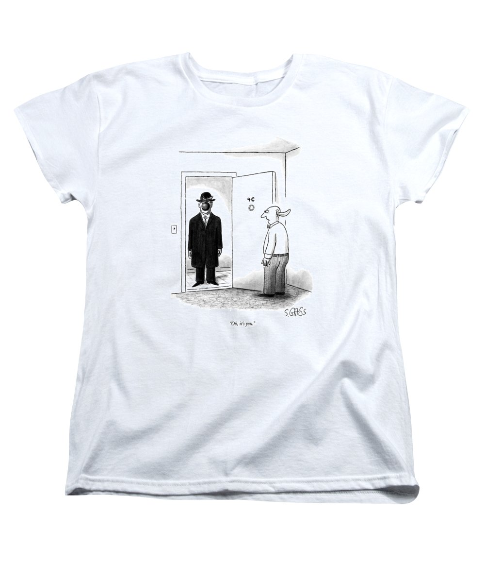 Art Women's T-Shirt (Standard Fit) featuring the drawing Oh, It's You by Sam Gross