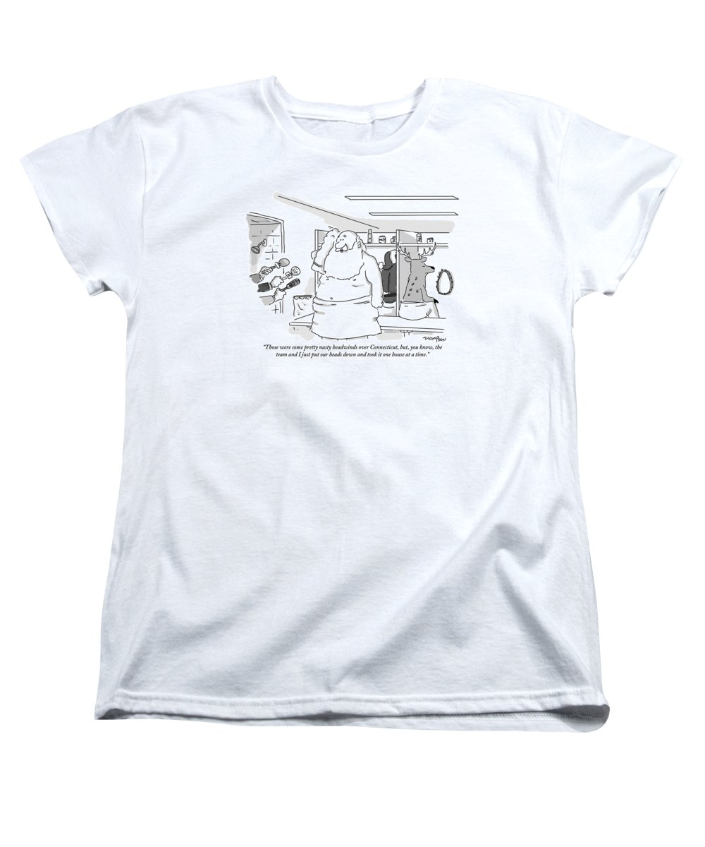 Christmas Women's T-Shirt (Standard Fit) featuring the drawing Santa Claus Is In A Locker Room Speaking by Mark Thompson