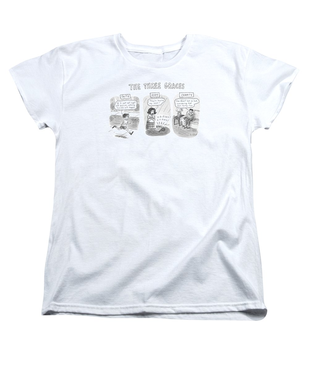 Women Women's T-Shirt (Standard Fit) featuring the drawing 'the Three Graces' by Roz Chast