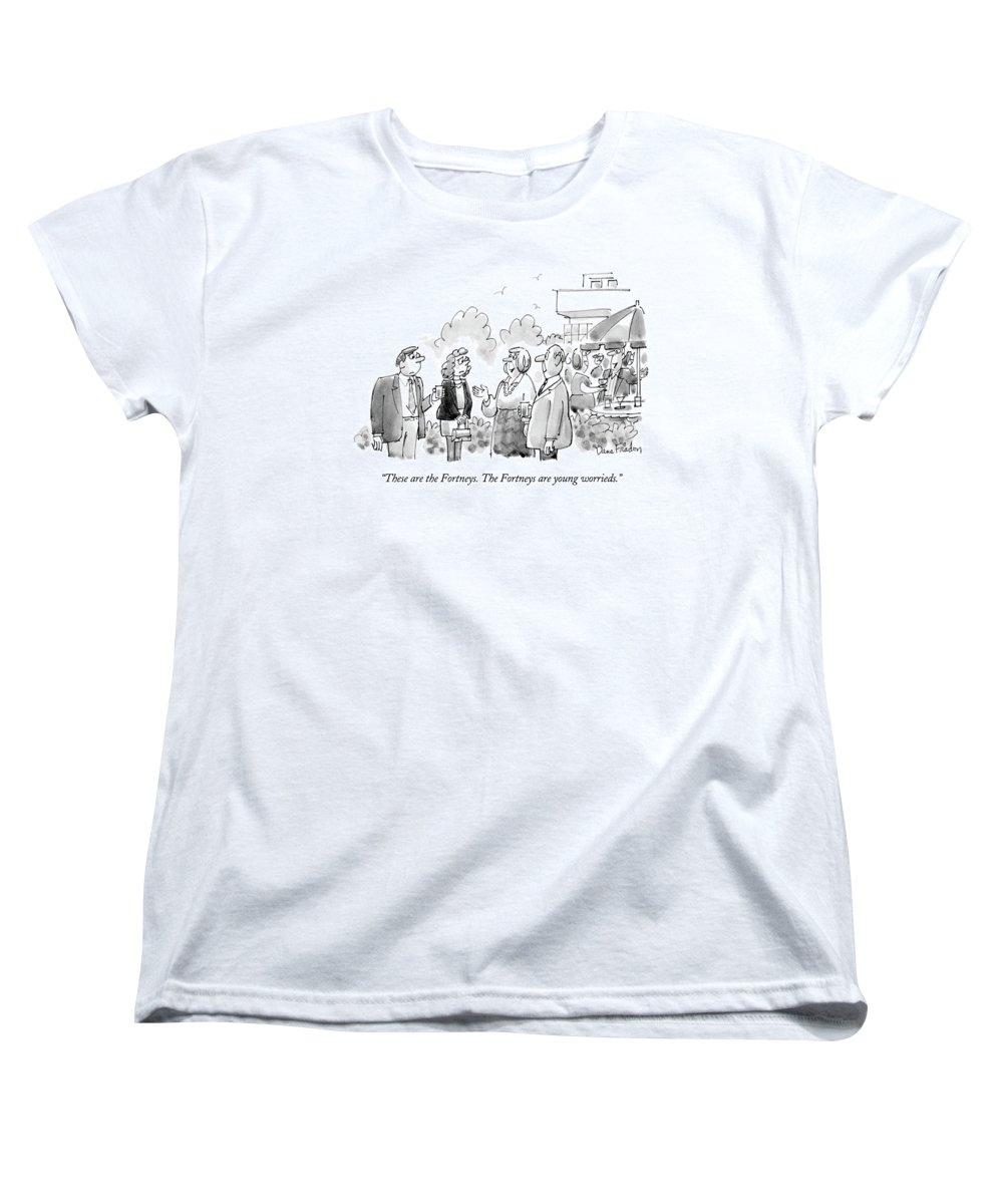 (young Women's T-Shirt (Standard Fit) featuring the drawing These Are The Fortneys. The Fortneys Are Young by Dana Fradon