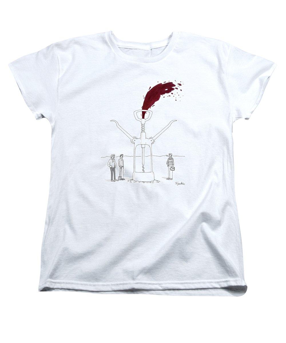 Captionless Women's T-Shirt (Standard Fit) featuring the drawing Three Men In Berets Drill Into The Ground by Charlie Hankin