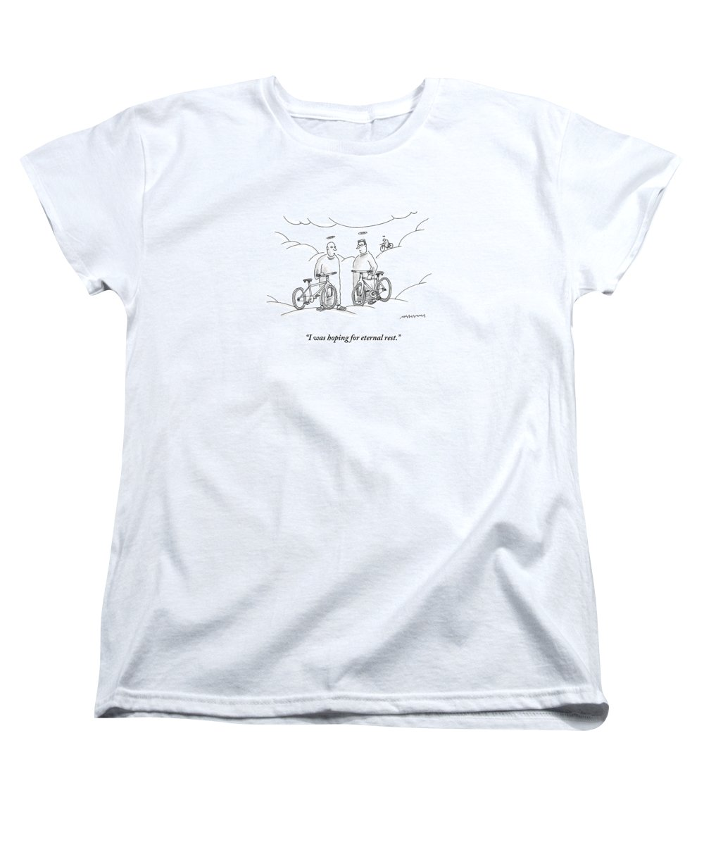 Angels Women's T-Shirt (Standard Fit) featuring the drawing Two Angels With Bicycles Converse. Another Angel by Mick Stevens