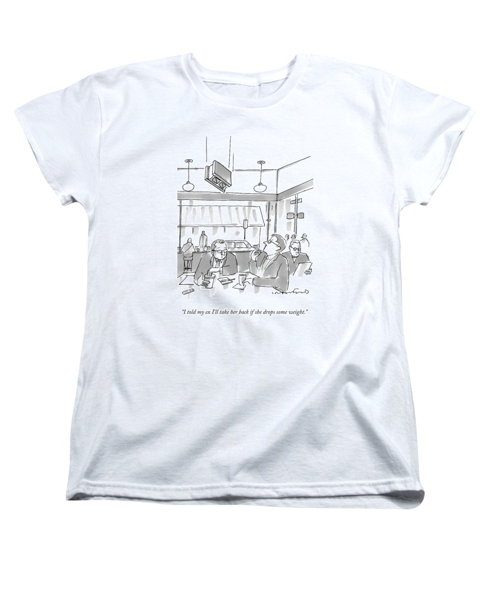 Cctk Women's T-Shirt (Standard Fit) featuring the drawing Two Men At A Restaurant Table by Michael Crawford