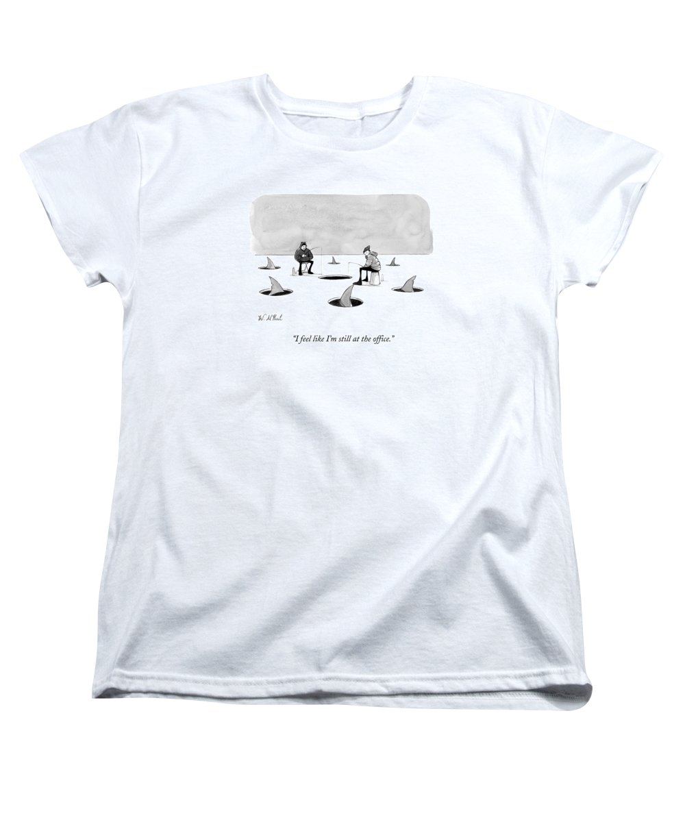 Cctk Ice Fishing Women's T-Shirt (Standard Fit) featuring the drawing Two Men Ice Fishing by Will McPhail
