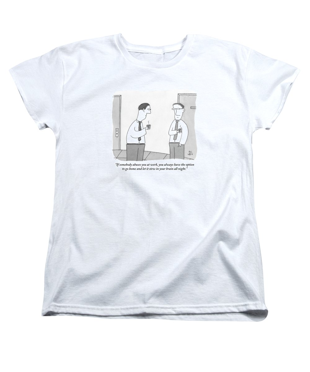 Office Women's T-Shirt (Standard Fit) featuring the drawing Two Men Talking by Peter C. Vey