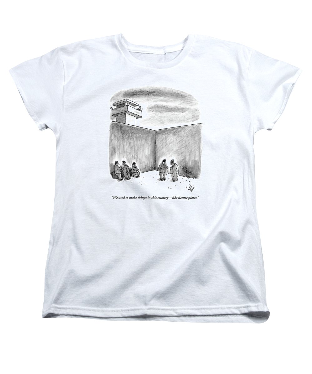 Prison Women's T-Shirt (Standard Fit) featuring the drawing Two Prisoners Talk In The A Prison Yard by Frank Cotham