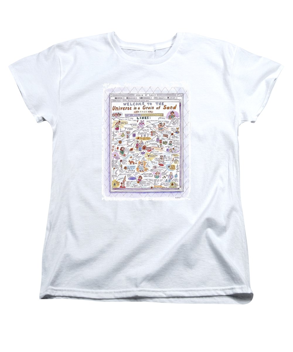 Sand Women's T-Shirt (Standard Fit) featuring the drawing 'welcome To The Universe In A Grain Of Sand' by Roz Chast