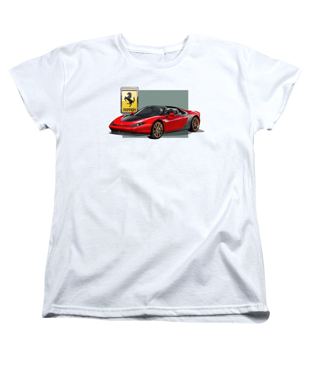 �ferrari� Collection By Serge Averbukh Women's T-Shirt (Standard Cut) featuring the photograph Ferrari Sergio With 3d Badge by Serge Averbukh