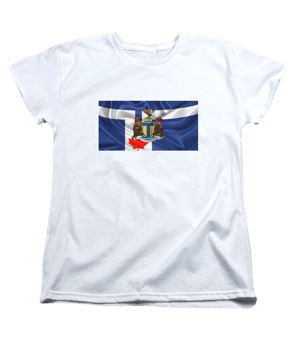 'cities Of The World' Collection By Serge Averbukh Women's T-Shirt (Standard Cut) featuring the photograph Toronto - Coat Of Arms Over City Of Toronto Flag by Serge Averbukh