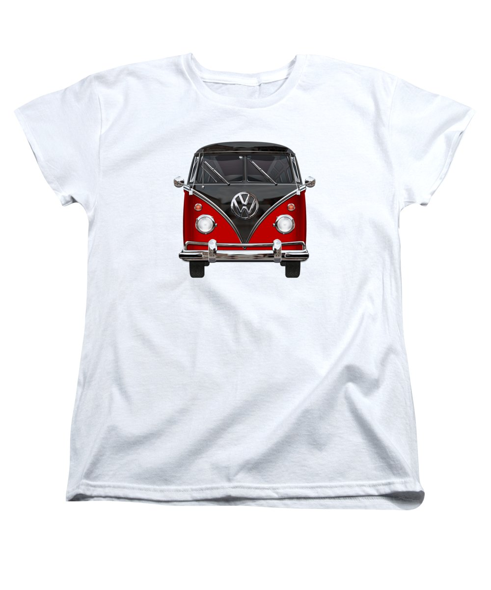 'volkswagen Type 2' Collection By Serge Averbukh Women's T-Shirt (Standard Cut) featuring the photograph Volkswagen Type 2 - Red And Black Volkswagen T 1 Samba Bus On White by Serge Averbukh