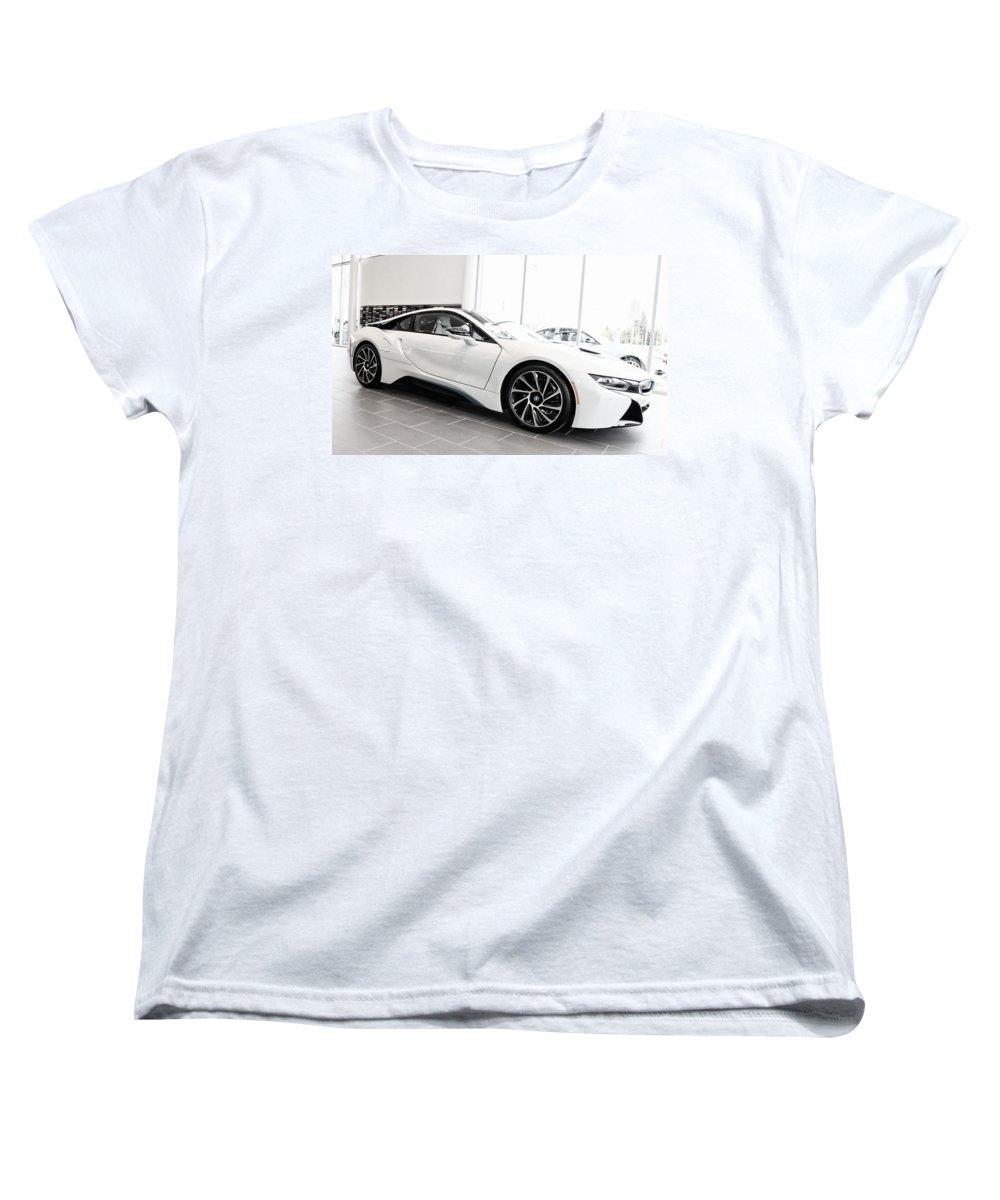 Bmw Women's T-Shirt (Standard Cut) featuring the photograph 2014 Bmw E Drive I8 by Aaron Berg