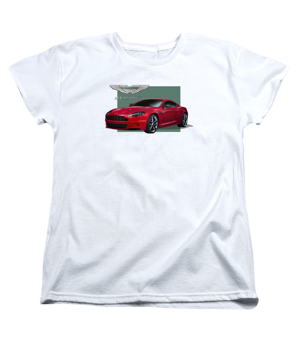�aston Martin� By Serge Averbukh Women's T-Shirt (Standard Cut) featuring the photograph Aston Martin D B S V 12 With 3 D Badge by Serge Averbukh