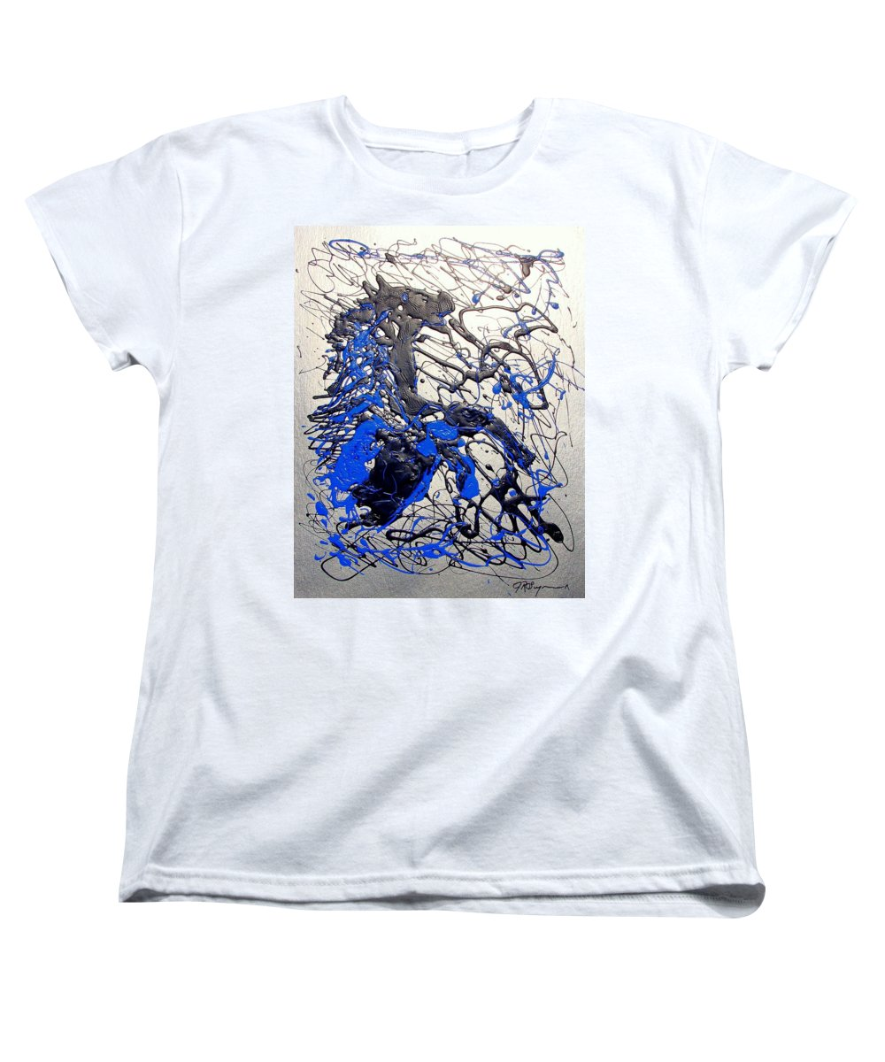 Stallion Horse Women's T-Shirt (Standard Cut) featuring the painting Azul Diablo by J R Seymour