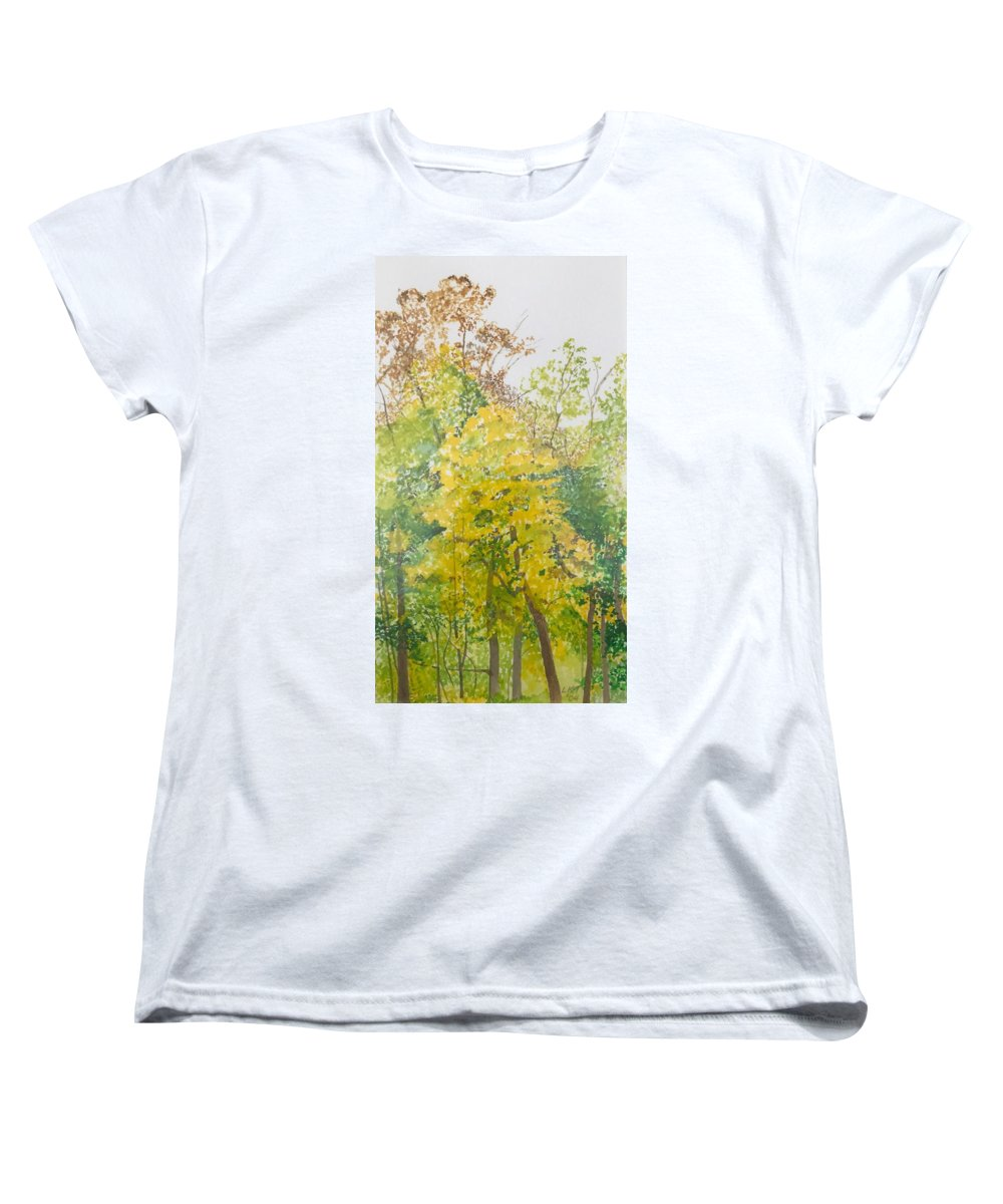 Autumn Women's T-Shirt (Standard Cut) featuring the painting Backyard by Leah Tomaino