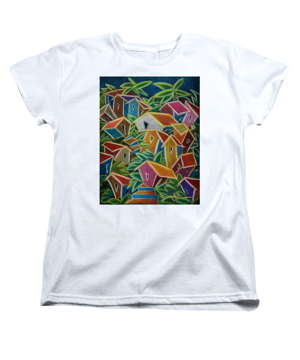 Landscape Women's T-Shirt (Standard Cut) featuring the painting Barrio Lindo by Oscar Ortiz