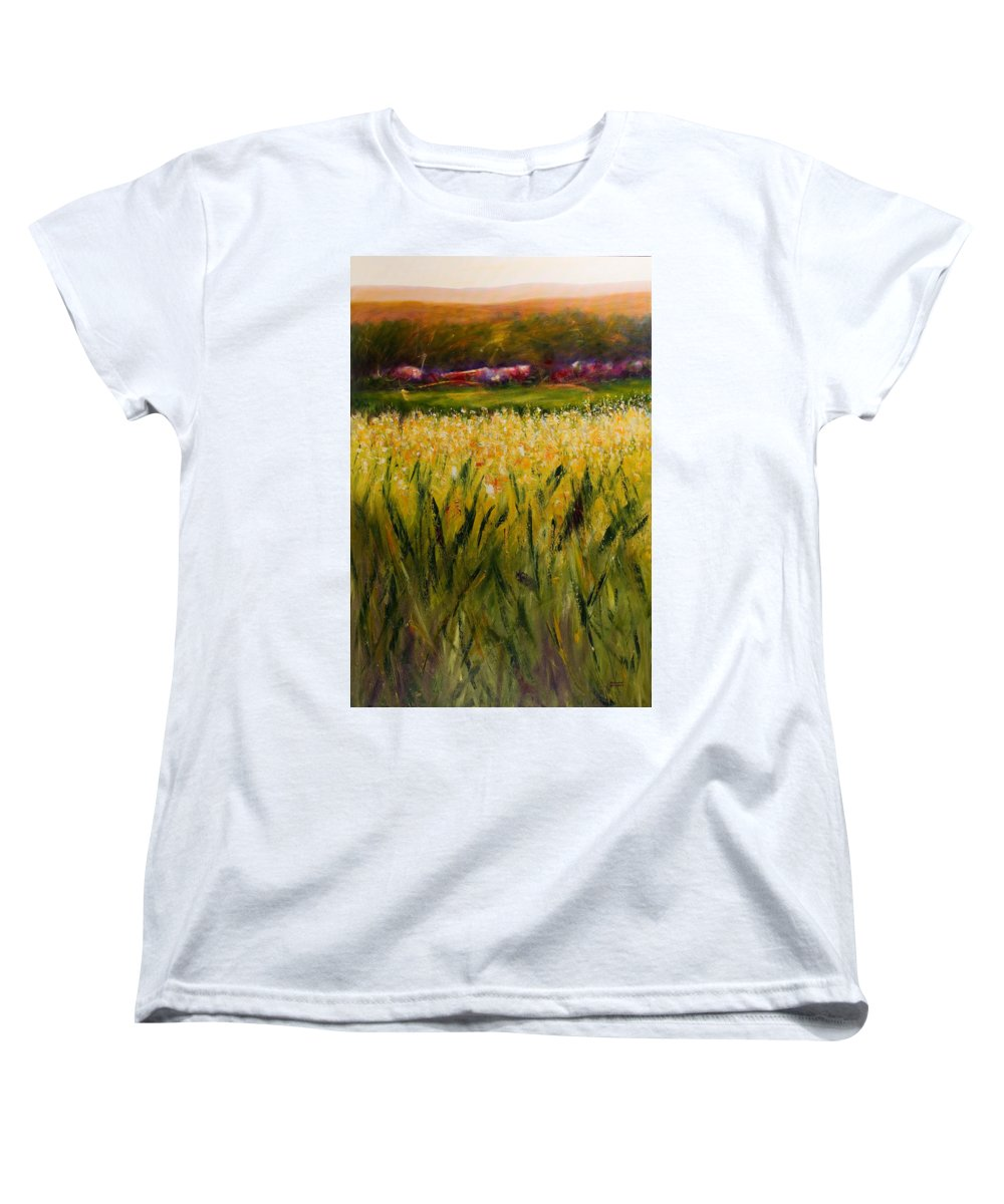 Landscape Women's T-Shirt (Standard Cut) featuring the painting Beyond The Valley by Shannon Grissom
